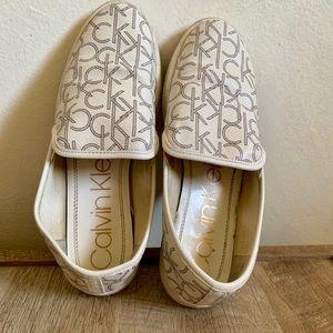 White Calvin Klein Flats